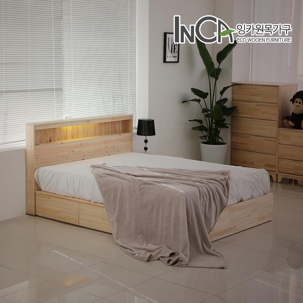 잉카 편백나무 원목 멀티 수납형 LED 조명 침대 퀸 헤드포함, 내추럴우드컬러