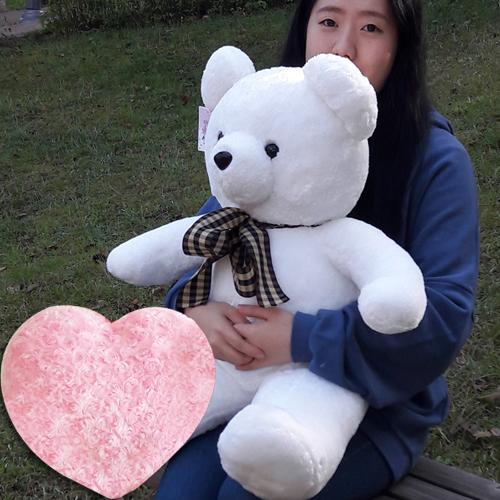 곰인형 (당일발송)체크리본베어+하트쿠션사은품 크리스마스선물 대형인형, 화이트, 체크리본베어 왕