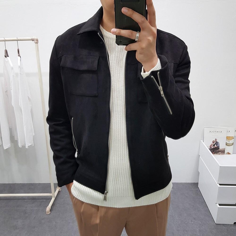 굿스옷장 남성용 심플 투포켓 스웨이드 자켓