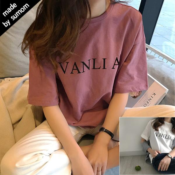 수맘 여성용 레터링 라운드 반팔 티셔츠