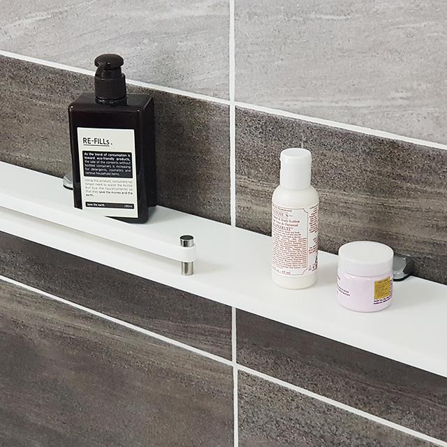 국산 인조대리석 욕실 일자선반 화이트 Hi-101, 단품