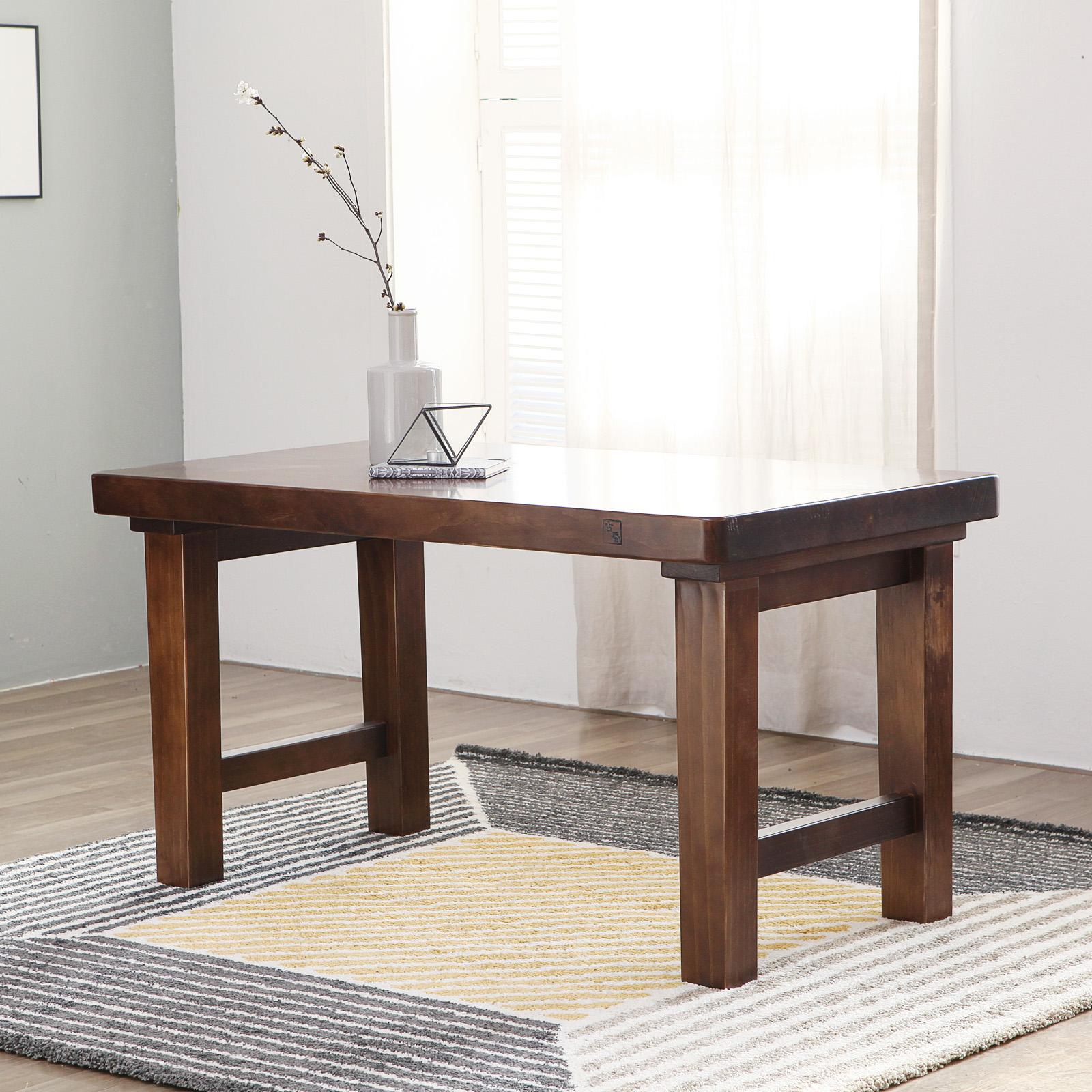 해찬솔원목이야기 소나무 통원목 1200테이블(4인용식탁 테이블) 우드슬랩 원목식탁테이블, 엔틱브라운
