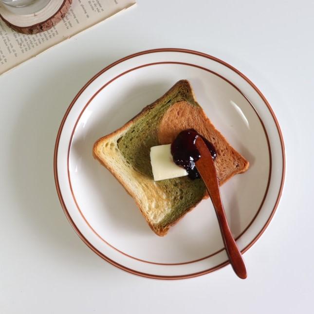 시라쿠스 브라운 블루 라인 접시 디저트 플레이트