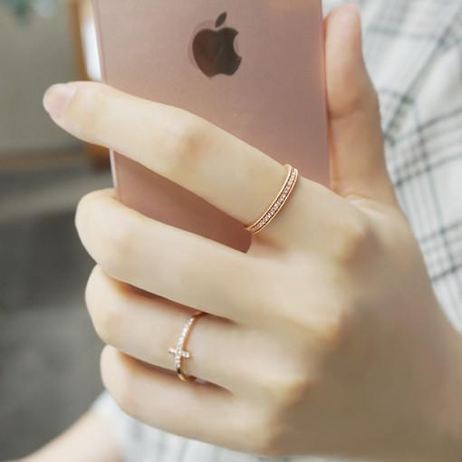 사강주얼리 14k 금 레이스 큐빅 반지 가드링 레이어드링