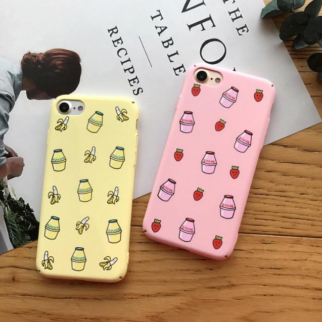 아이폰 딸기 바나나 우유 그래픽 하드 케이스