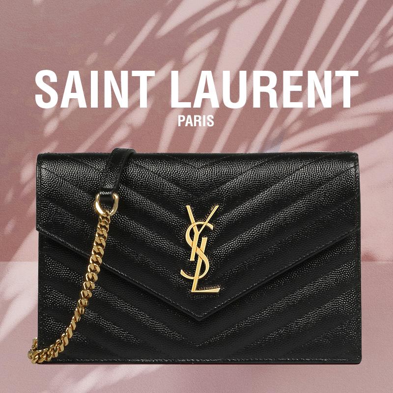 Saint laurent 20시즌(백화점AS) 입생로랑 엔벨롭 WOC 크로스백 금장 블랙 선물포장