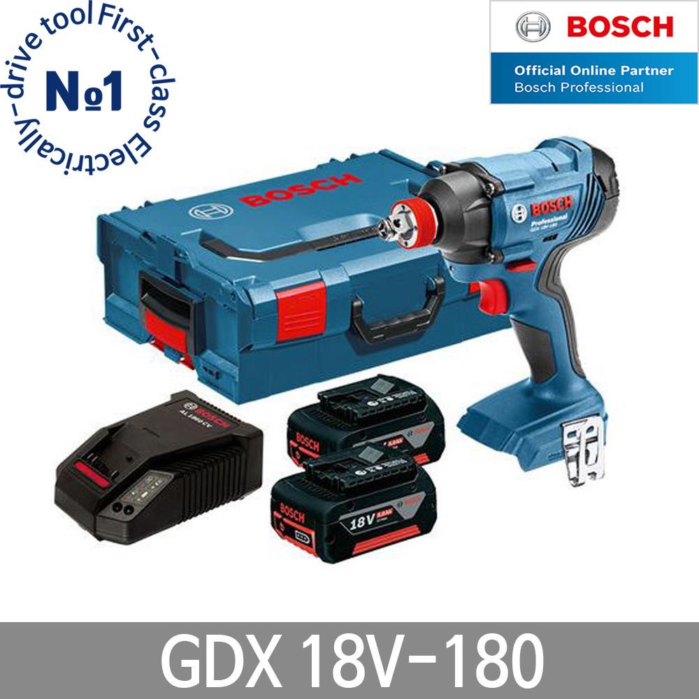 보쉬 GDX18V-180 충전임팩렌치 드라이버 6.0Ah 배터리, 5.0Ah 배터리 1개