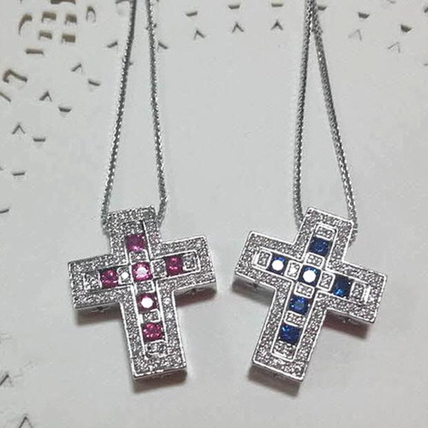 아름쥬얼리 분리형 다미아니 st 십자가목걸이 루비 화이트 에메랄드 사파이어
