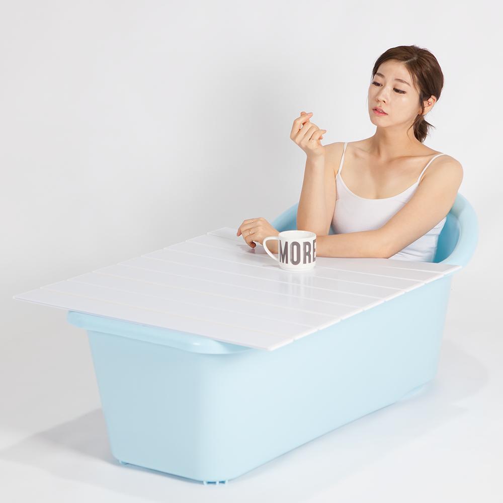 이수욕조 반신욕조+덮개세트, 스카이블루, 1개