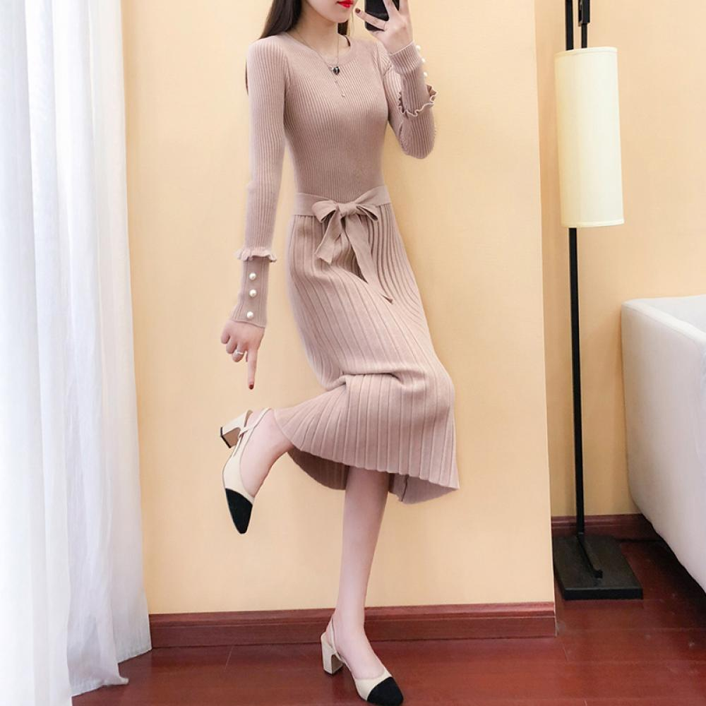kirahosi 원피스 봄 가을 겨울 여성 니트 드레스 롱 02-73 P36woy+덧신 증정