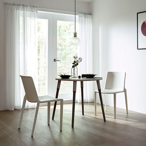 일룸 레마 800폭 원형테이블 식탁세트, 그레이매트+스노우화이트