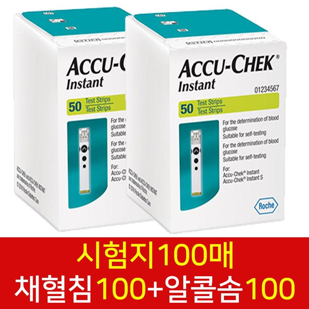 로슈 아큐첵 인스턴트 혈당시험지 100매+ 알콜솜100 +호환침100매, 1개