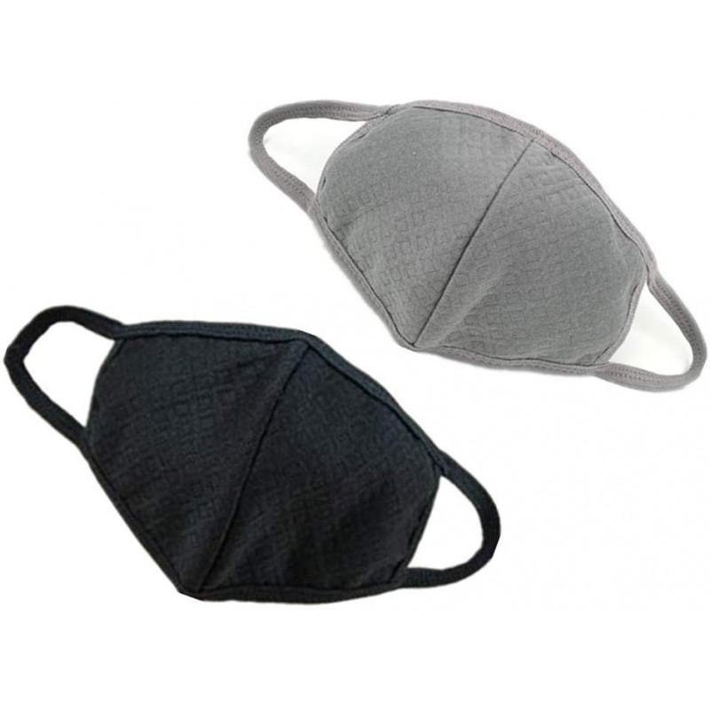 ALIMITOPIA 2pcs Guaze Mask 어른 세 개의 플라이 활성탄 퓨어 코튼 리사이클링 페이스 마스크 (검은 색, 단일상품