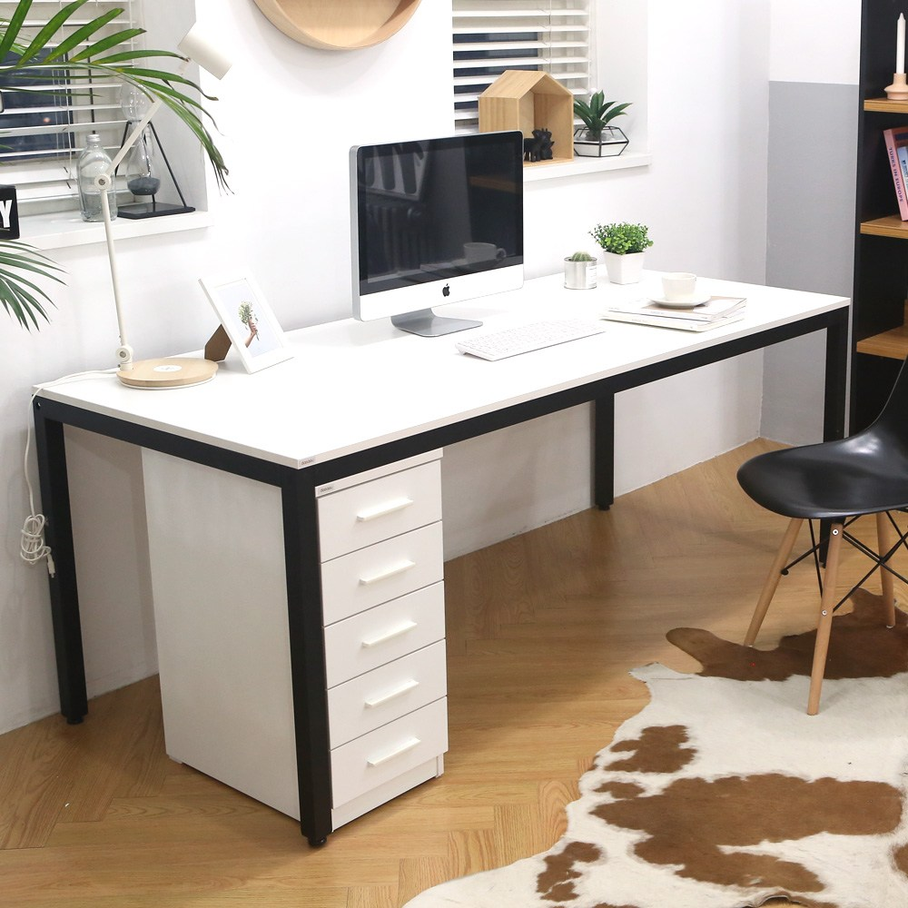 다가구 프래그마 1200 x 600 컴퓨터책상, 아이보리 상판+블랙 프레임