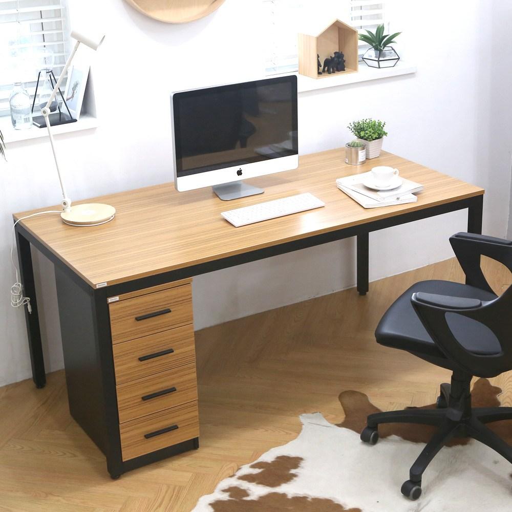 다가구 프래그마 1600 x 800 컴퓨터책상, 지브라(상판):블랙(프레임)