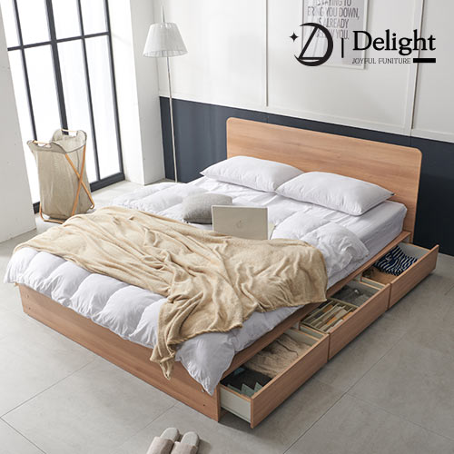 딜라이트 밀리 수납형 킹 침대 K+본넬 매트리스+방수커버, 아카시아