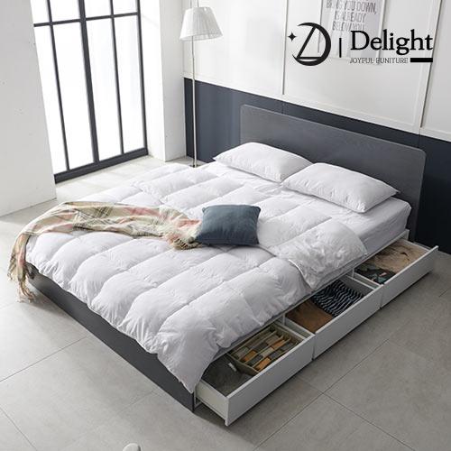 딜라이트 밀리 수납형 킹 침대 K+본넬 매트리스+방수커버, 그레이+화이트