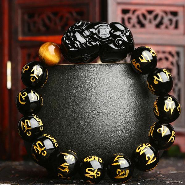 불교용품 재물을 부르는 비휴 흑요석 염주팔찌, 16mm(남성)