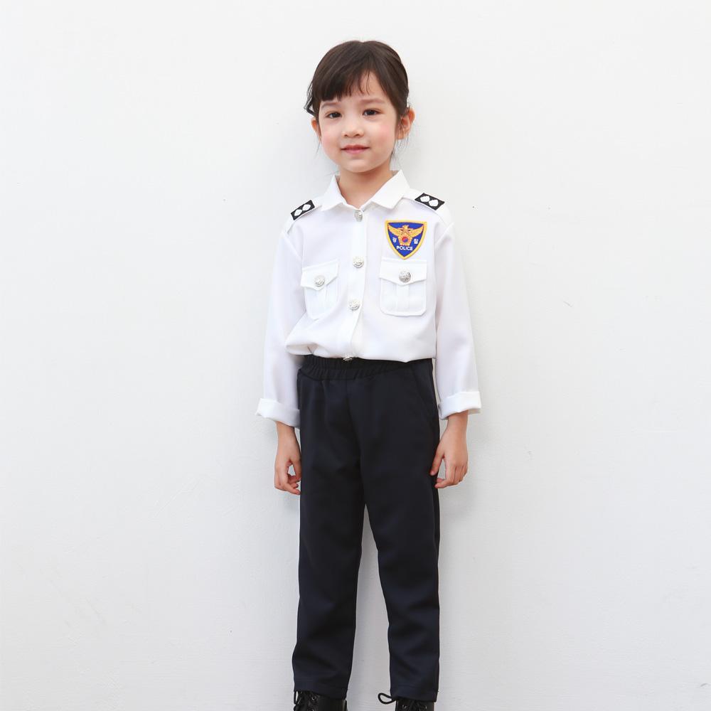 무지개나무 아동경찰복 화이트 바지세트 유아 할로윈의상