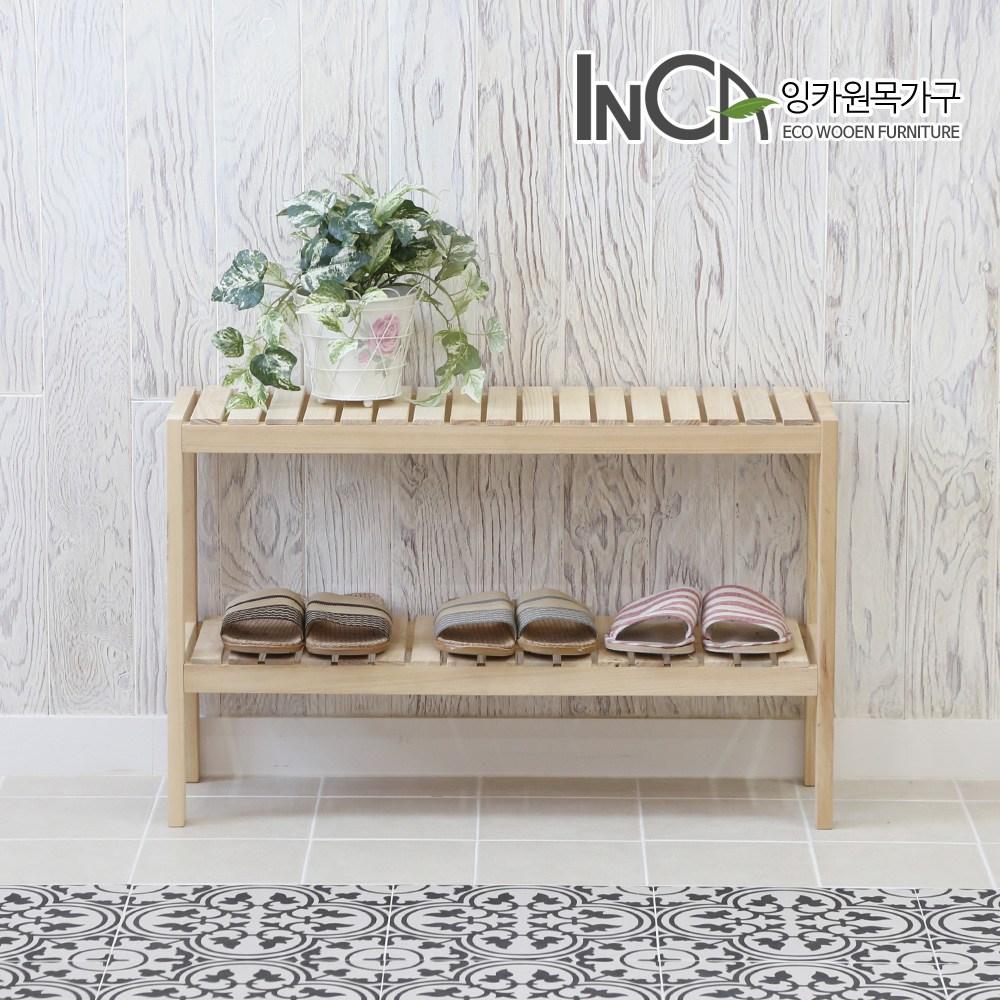 잉카 소나무 원목 벤치형 신발정리대 2단 800 2컬러, 내추럴