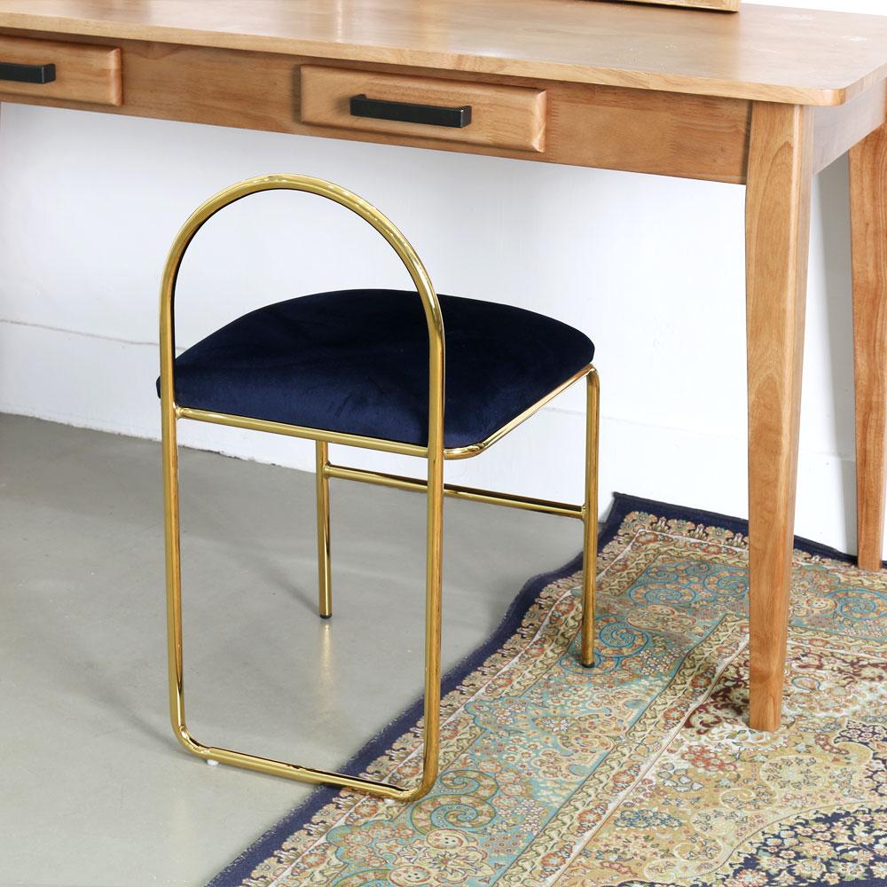 지엠퍼니처 [무료배송] 엔(n) 골드체어 - 화장대의자 골드벨벳 화장대스툴 식탁의자 카페의자 인테리어 디자인체어 보조의자 인테리어의자, n체어 네이비
