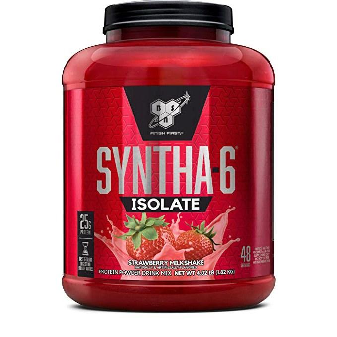 비에스엔 신타-6 아이솔레이트 프로틴 파우더 드링크 믹스 단백질 보충제, 1.82kg, 스트로베리 밀크쉐이크(Strawberry  Milkshake)