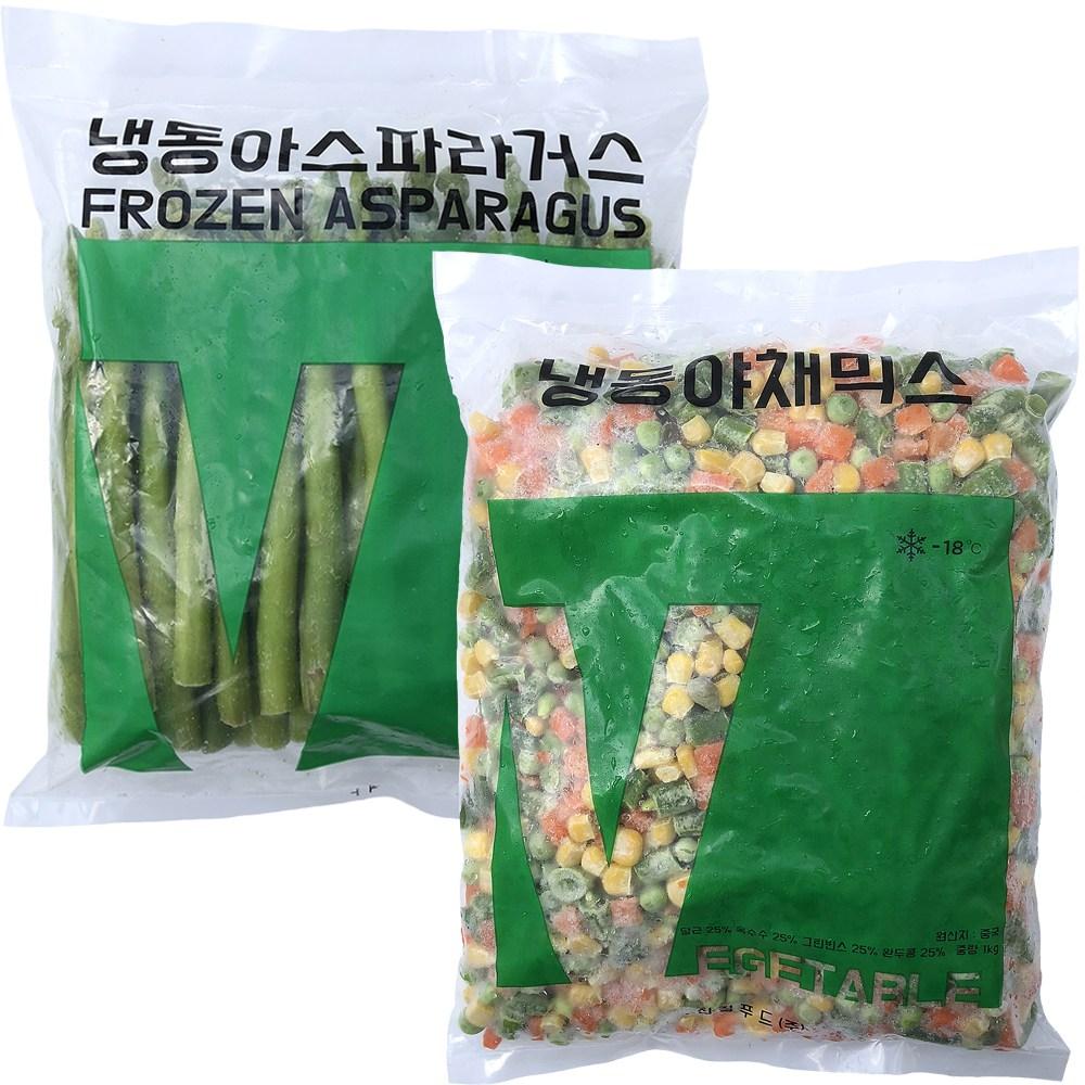 힘찬푸드 냉동채소모음전, 1세트, 09_아스파라거스1kg+야채믹스1kg
