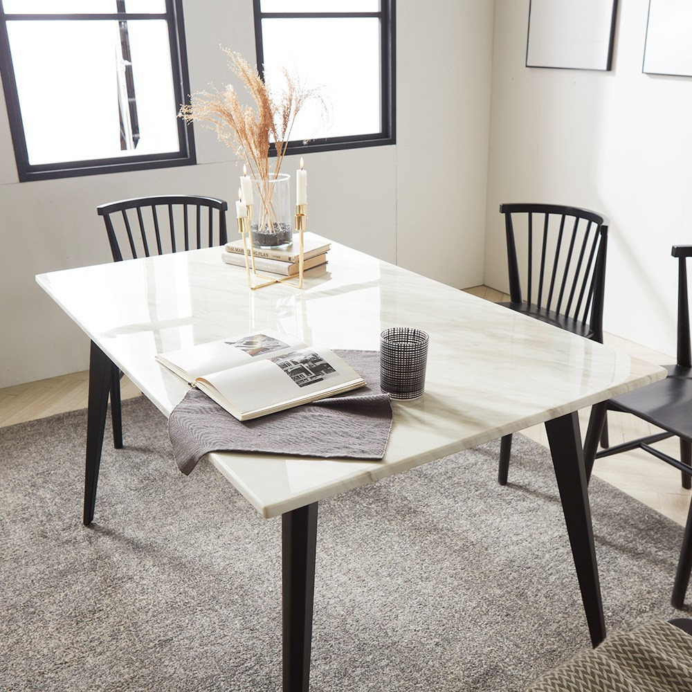 보니애가구 마노 비앙코 천연 대리석 4인용 식탁 테이블, 화이트&블랙