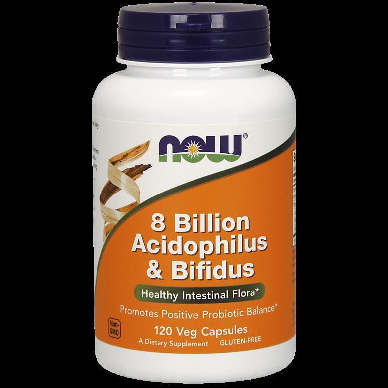 나우푸드 8 빌리언 아시도필러스 & 비피더스 유산균 베지 캡슐, 120개입, 1개