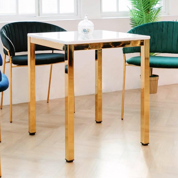 일루일루 스카 골드 사각 대리석 커피 거실 테이블 60cmx60cm, 사각상판 사각프레임 60x60