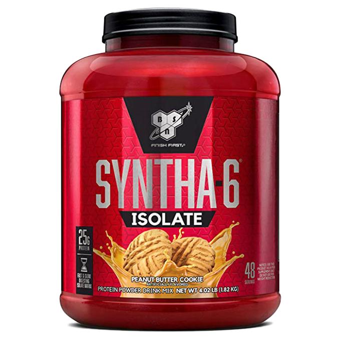 비에스엔 신타-6 아이솔레이트 프로틴 파우더 드링크 믹스 단백질 보충제, 1.82kg, 피넛 버터 쿠키(Peanut Butter Cookies)