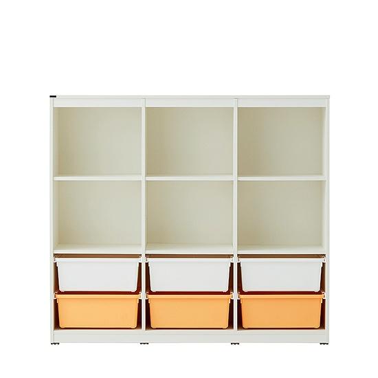 한샘 샘키즈 3단 수납장 책장 1305 A형 블라썸, 색상(몸통/박스):C형:(몸통)크림화이트/(박스)하프코랄(C)