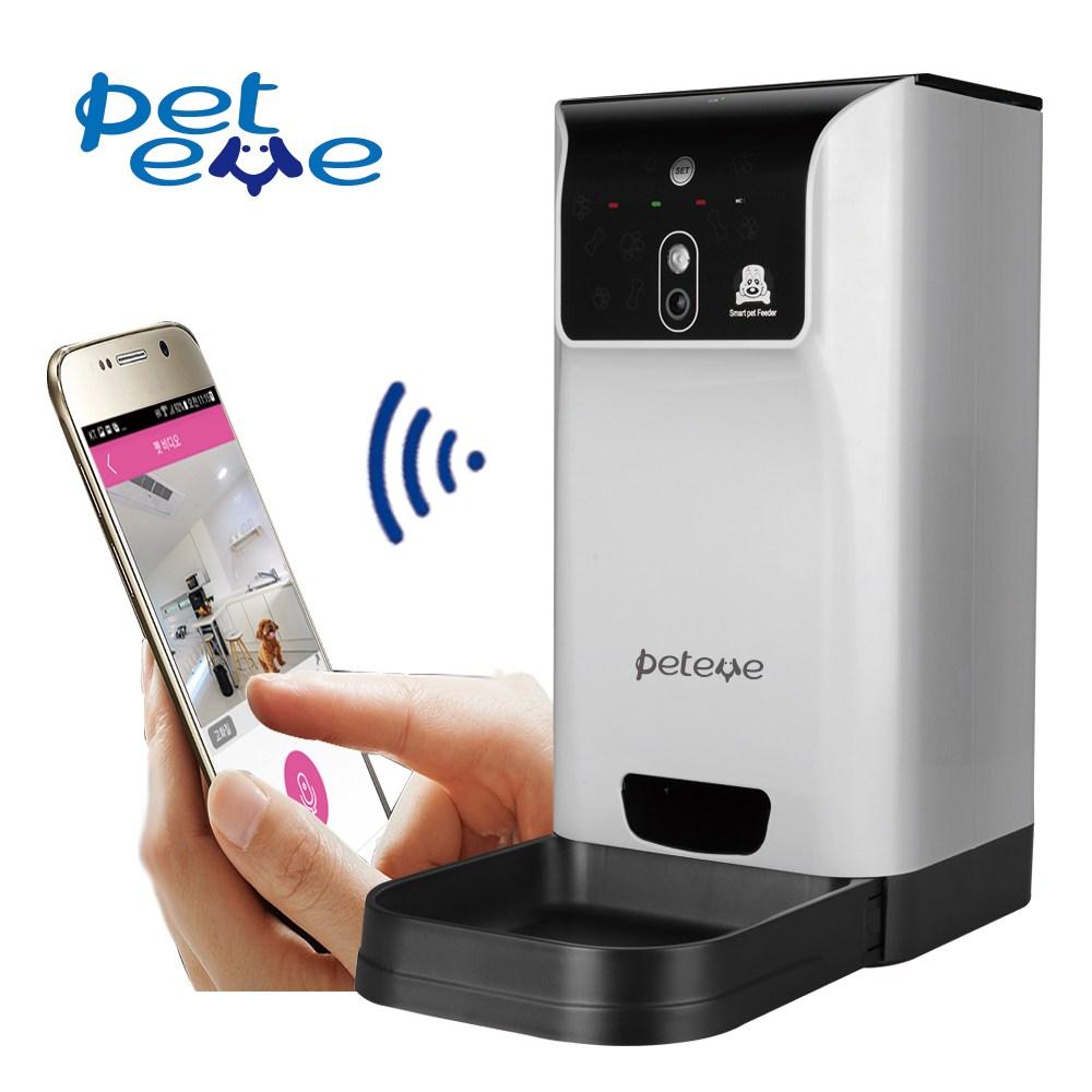 PETEYE 강아지 고양이 애견 자동급식기 반려동물 사료, 스마트폰 어플형(CP-P201)