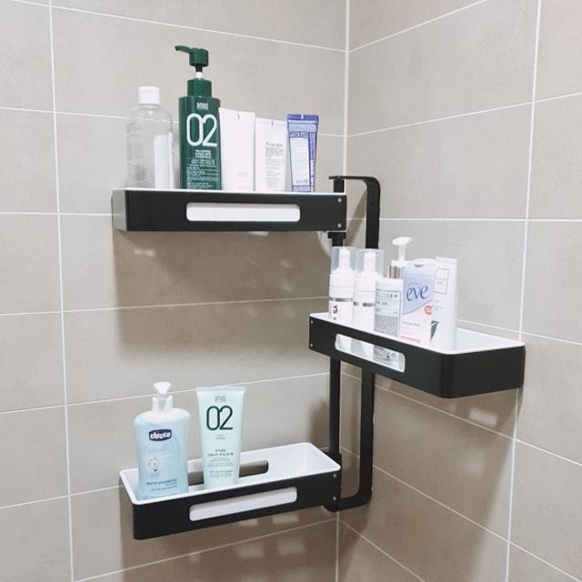 홈바내쓰 욕실 선반 코너 다용도 화장실, 블랙, 3단