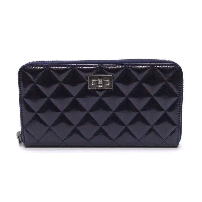 [뉴욕명품] Chanel(샤넬) 지갑 2.55 네이비 빈티지 글로시 루테늄 지퍼 장지갑(20번대) 장지갑