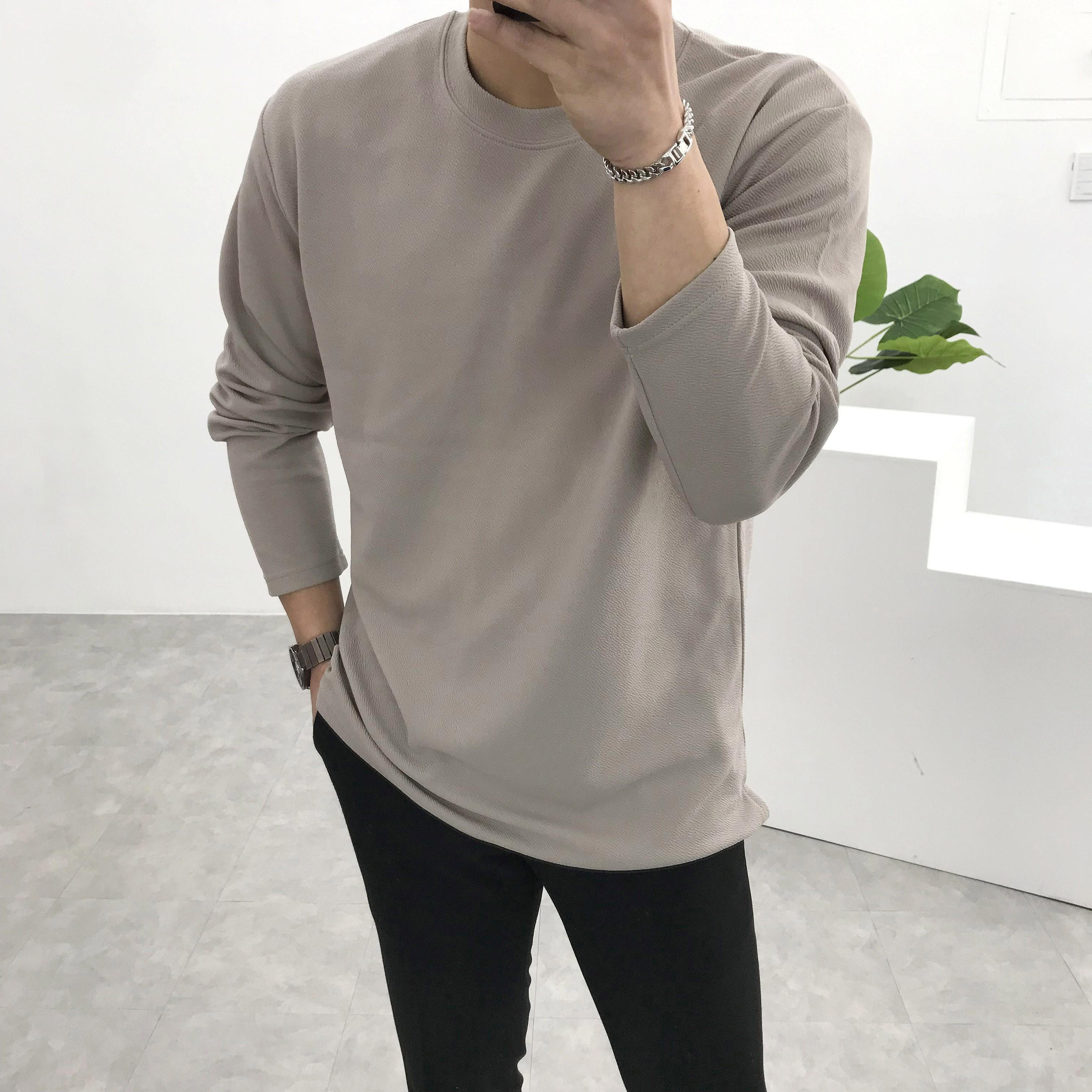 간빠레 편안한 스판 트임 라운드 긴팔티셔츠 긴팔 티셔츠