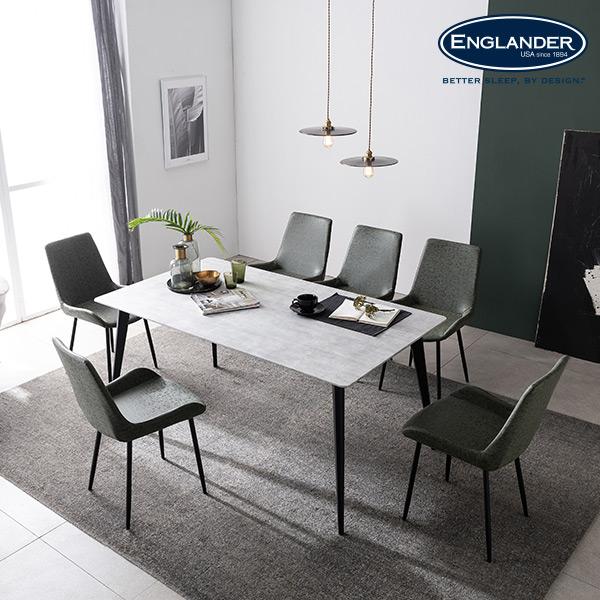 [잉글랜더]그레노 RB세라믹 6인용 식탁(의자 미포함), 마블화이트