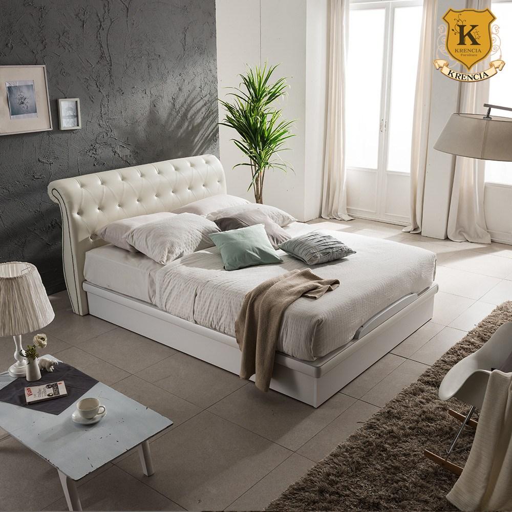 크렌시아 K800 PU가죽 평상형 퀸 침대프레임 Q (매트제외), 아이보리