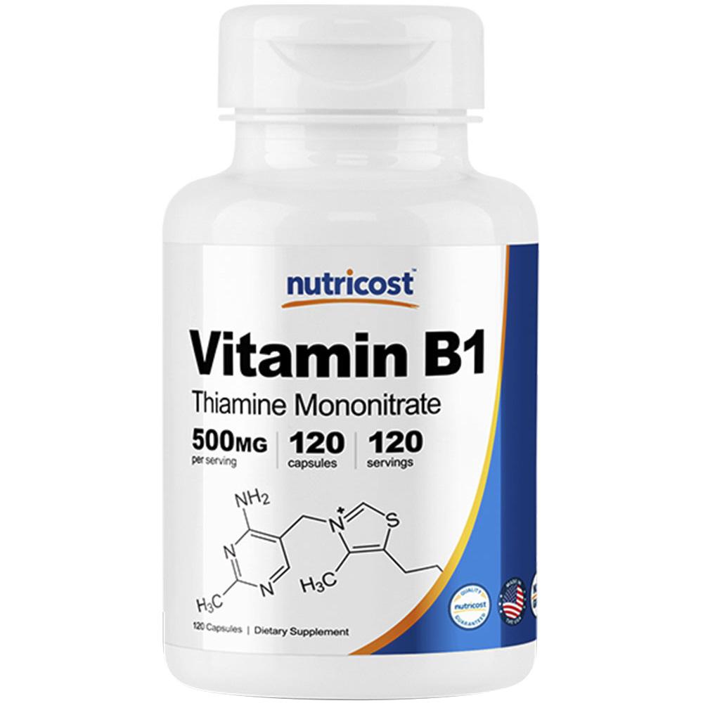 뉴트리코스트 비타민 B1 티아민 모노나이트레이트 500mg 캡슐, 120개입, 1개