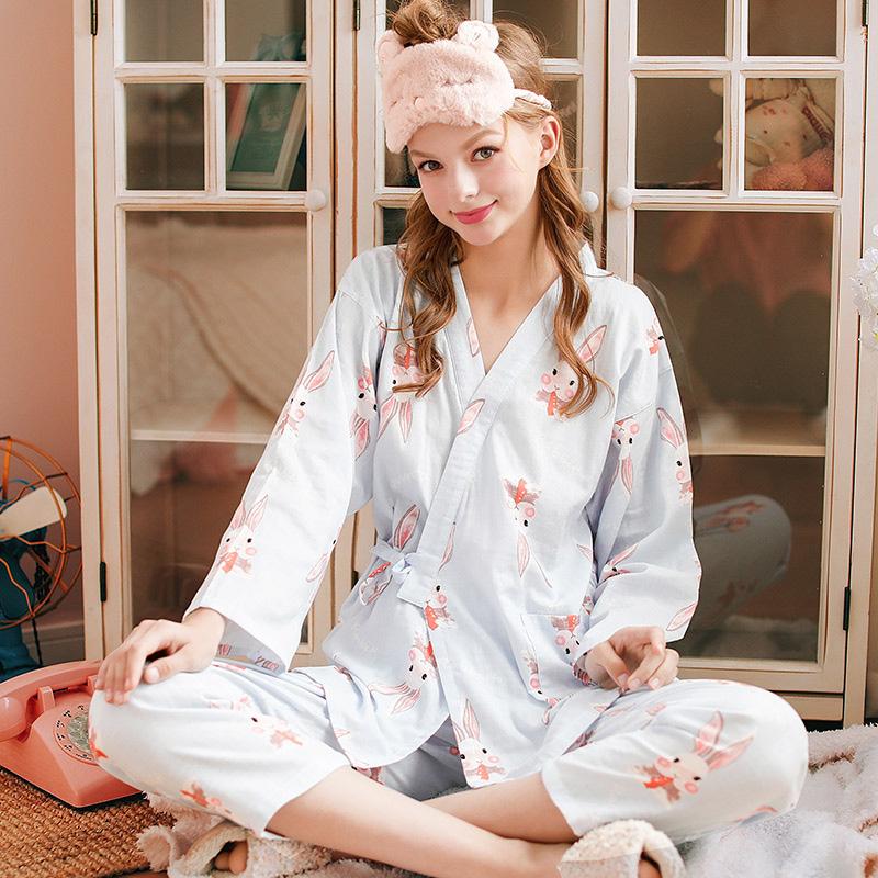 임산부 수유 잠옷 월 의류 여름 면화 거즈 봄 가을 임산부 잠