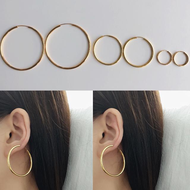 925실버 순은 볼드 14k 골드 도금 링 귀걸이 한쌍 가격