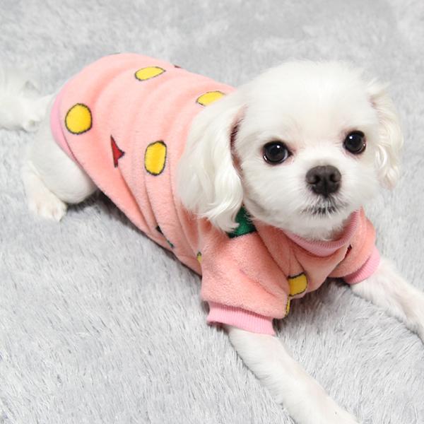 도기코디 짱구 도형 잠옷 보아 강아지옷 티셔츠, 핑크