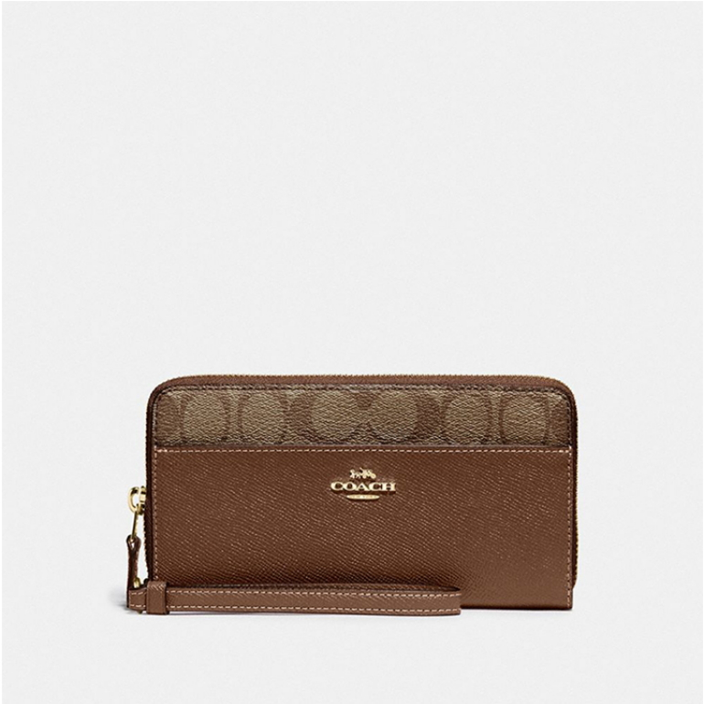 코치 [HAPPYNY] COACH_ 76971 ACCORDIAN ZIP WALLET (KHAKI SADDLE)