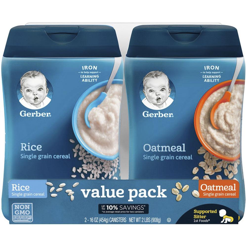거버 싱글 그레인 시리얼 어린이 미음 454g, 2개입, 쌀(Rice), 오트밀(Oatmeal)