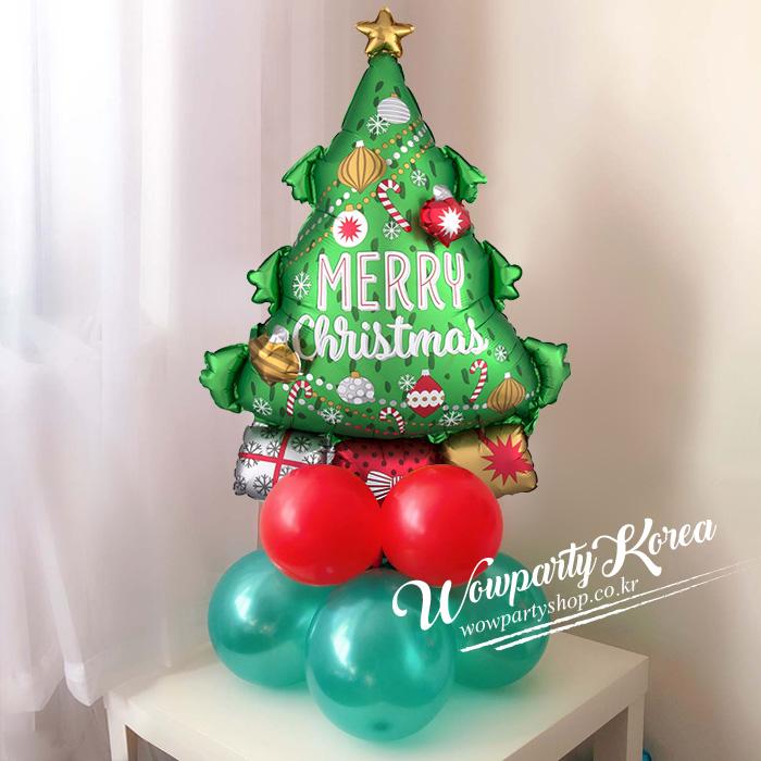 와우파티코리아 크리스마스 풍선기둥-재료만 가는상품, 1개, 멀티벌룬 크리스마스트리 가랜드